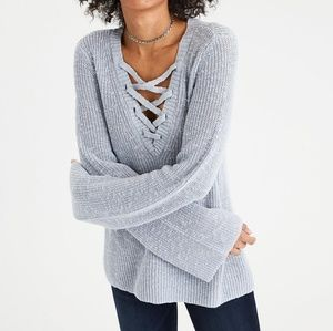 AE Lace-up Bell Sleeve V-Neck Pullover Sweater